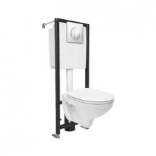 Комплект: DELFI (унитаз подвесной с сиденьем т/п lift+инст. BLACK с кн. хром гл